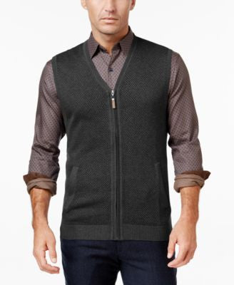 Tasso Elba Men's Zip-Up Texture Vest, Only at Vogily