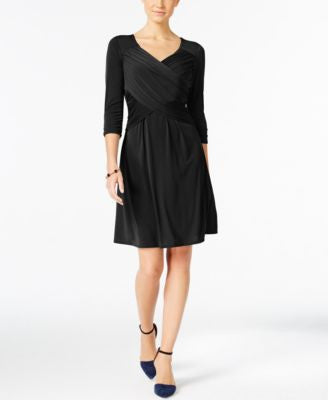 NY Collection Petite Tummy-Control Fit & Flare Dress