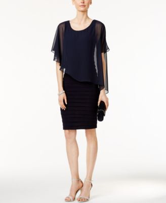 B&A by Betsy and Adam Chiffon Capelet Sheath Dress