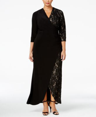 R & M Richards Plus Size Lace-Contrast Faux-Wrap Gown