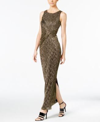 Calvin Klein Twist-Front Metallic Gown