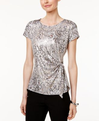 MSK Paisley-Print Side-Tie Top