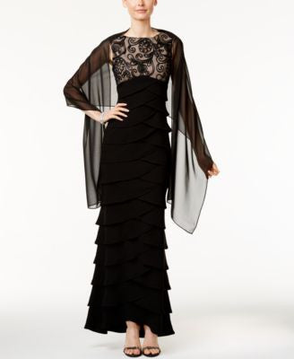 Jessica Howard Illusion Tiered Empire Gown and Shawl