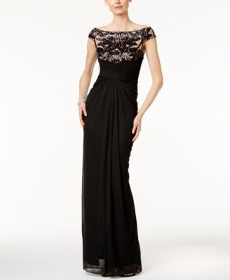 Adrianna Papell Off-The-Shoulder Sequined Contrast Gown