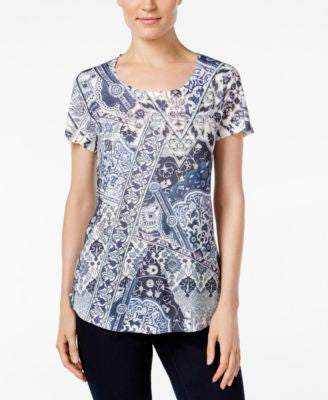 Style & Co. Petite Printed Embellished T-Shirt, Only at Vogily
