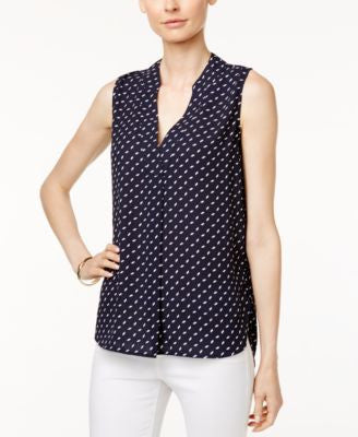 Charter Club Petite Diamond-Print Blouse, Only at Vogily