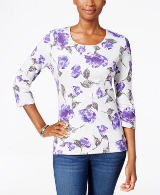 Karen Scott Petite Floral-Print Top, Only at Vogily