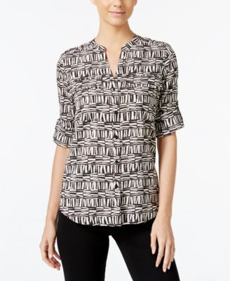 Calvin Klein Printed Split-Neck Shirt
