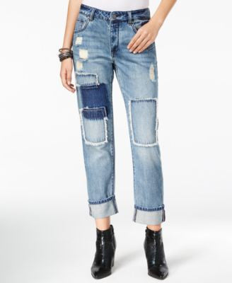 William Rast Slouchy Patched Currently Wash Boyfriend Jeans