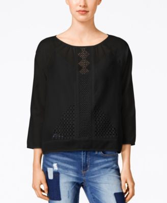 Calvin Klein Jeans Lace Three-Quarter-Sleeve Top