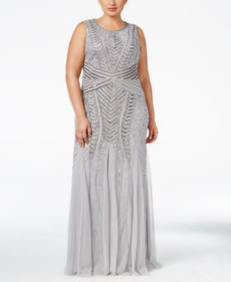 Adrianna Papell Plus Size Chrevron-Beaded Mermaid Gown