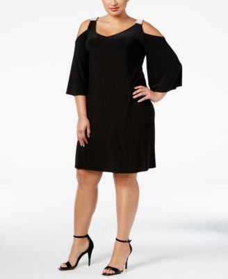 MSK Plus Size Embellished Cold-Shoulder Dress