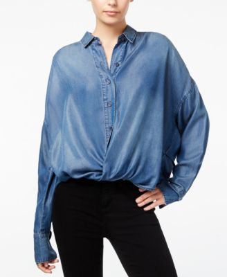 William Rast Aster Chambray Cross-Front Shirt