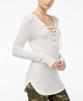 William Rast Gordon Revival Lace-Up Top