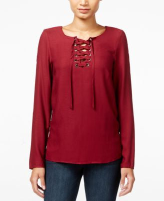 kensie Long-Sleeve Lace-Up Top