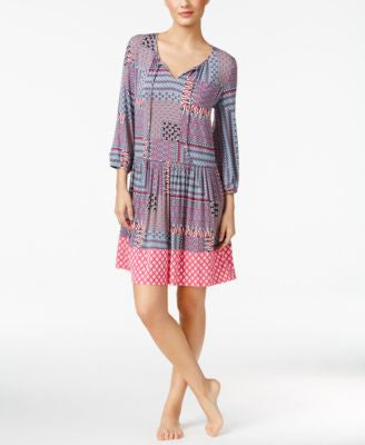 Ellen Tracy Mixed-Print Peasant Sleepshirt