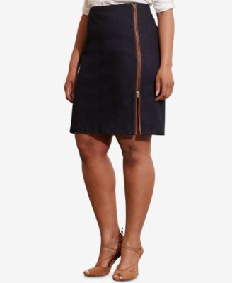 Lauren Ralph Lauren Plus Size Zip-Front Skirt