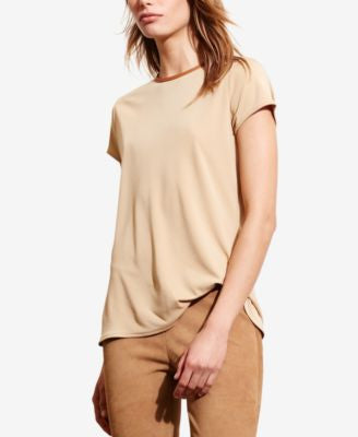 Lauren Ralph Lauren Petite Faux Leather–Trim Jersey T-Shirt