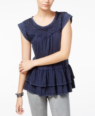 William Rast Raitt Embellished Ruffled Top