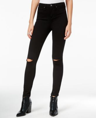 William Rast Distressed Sculpted Black Wash Skinny Jeans