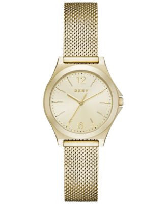DKNY Women's Parsons Gold-Tone Stainless Steel Mesh Bracelet Watch 30mm NY2534