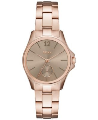 DKNY Women's Casual Case Rose Gold-Tone Stainless Steel Bracelet Watch 36mm NY2518