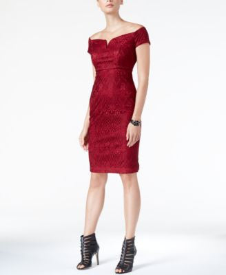 GUESS Off-The-Shoulder Lace Sheath Dress