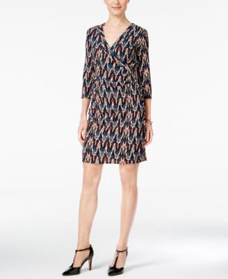 NY Collection Petite Printed Wrap Dress