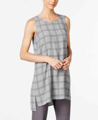 Eileen Fisher Silk Windowpane-Print Tunic
