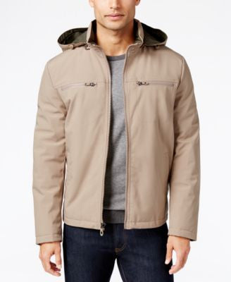 Kenneth Cole Soft Shell Hooded Bomber Jacket