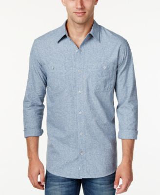 Weatherproof Vintage Men's Textured Denim Long-Sleeve Shirt, Only at Vogily