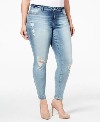 Jessica Simpson Trendy Plus Size Distressed Blue Wash Skinny Jeans