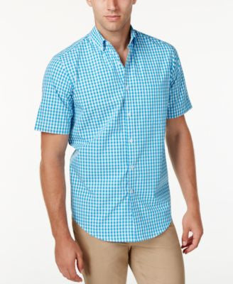 Club Room Men's Check Short-Sleeve Shirt, Only at Vogily