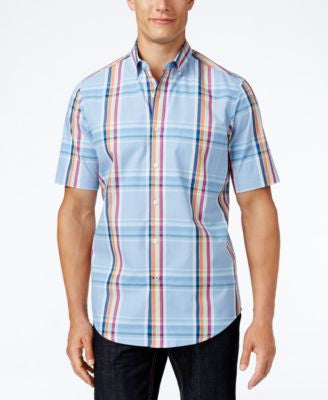 Club Room Men's Plaid Short-Sleeve Shirt, Only at Vogily
