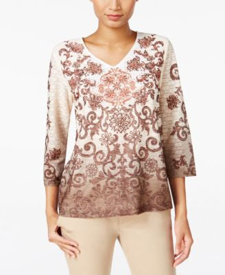 Alfred Dunner Santa Fe Collection Printed Ombré Top
