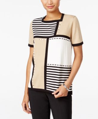 Alfred Dunner Madison Park Collection Striped Colorblocked Sweater