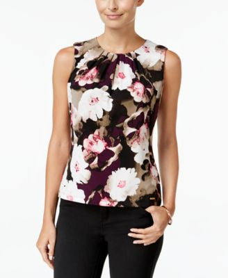 Calvin Klein Floral-Print Pleat-Neck Top