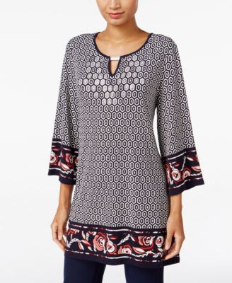 JM Collection Printed Keyhole Tunic, Only at Vogily