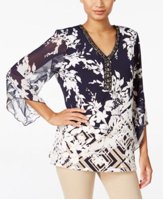 JM Collection Petite Beaded Printed Top, Only at Vogily