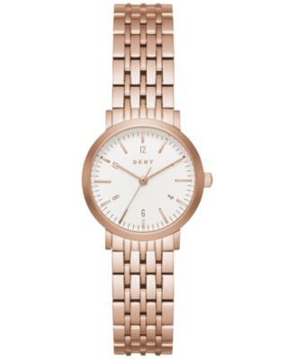 DKNY Women's Dress Case Rose Gold-Tone Stainless Steel Bracelet Watch 28mm NY2511