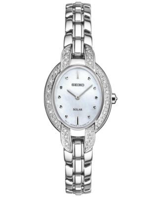 Seiko Women's Solar Tressia Diamond Accent Stainless Steel Bracelet Watch 21mm SUP323