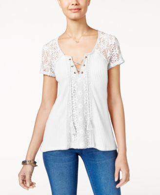 American Rag Crochet-Trim Waffle-Knit Top, Only at Vogily