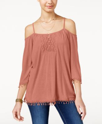 American Rag Crochet-Trim Off-The-Shoulder Top, Only at Vogily