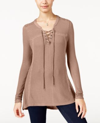 American Rag Crochet-Trim Lace-Up Waffle-Knit Top, Only at Vogily