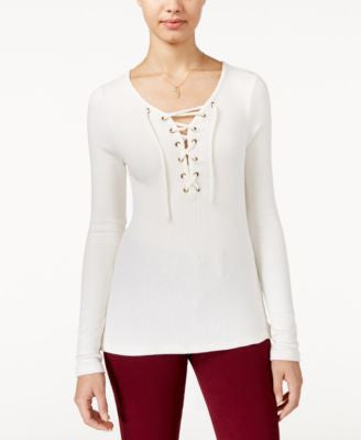 American Rag Lace-Up Rib-Knit Top, Only at Vogily
