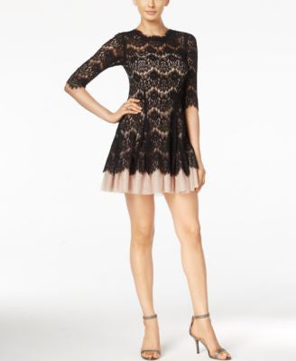 Betsy & Adam Petite Lace Fit & Flare Mini Dress