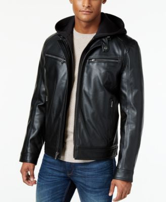 MICHAEL Michael Kors Faux-Leather Contrast-Hood Bomber Jacket
