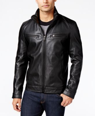 Michael Kors Men's Perforated Faux-Leather Moto Jacket