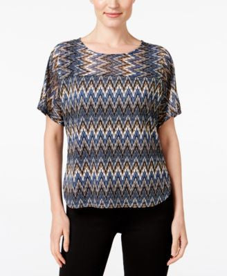 NY Collection Petite Lace Dolman-Sleeve Top
