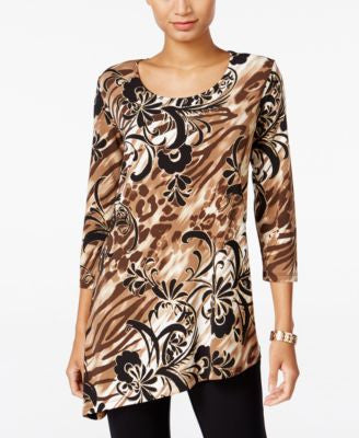 JM Collection Printed Asymmetrical-Hem Top, Only at Vogily